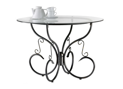 Tempered Glass and Steel Round Kitchen/Dining Table FLORENCE
