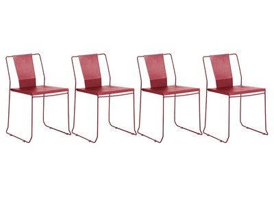 TENERIFE Red Metal Modern Garden Chairs (set of 4)