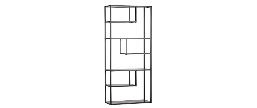 TETRIS designer shelving unit in black metal