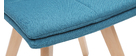 THEA set of 2 chairs blue fabric light wooden legs