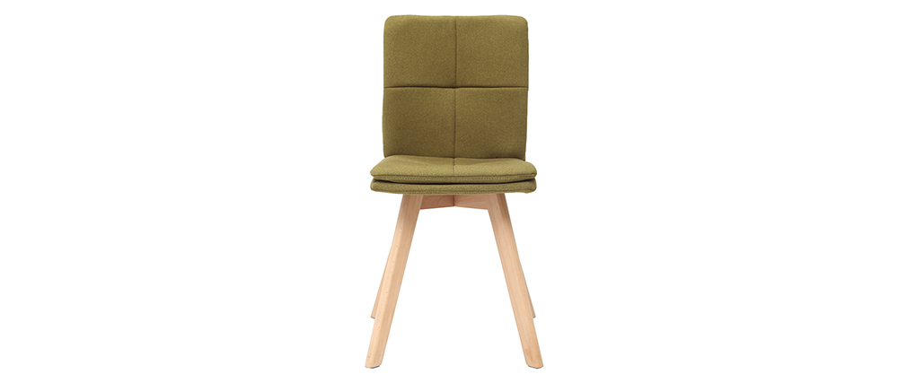 THEA set of 2 chairs green fabric light wooden legs