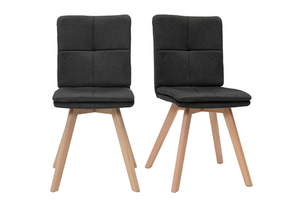 THEA set of 2 chairs grey fabric light wooden legs