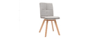 THEA set of 2 chairs natural fabric light wooden legs