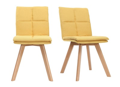 THEA set of 2 chairs yellow fabric light wooden legs