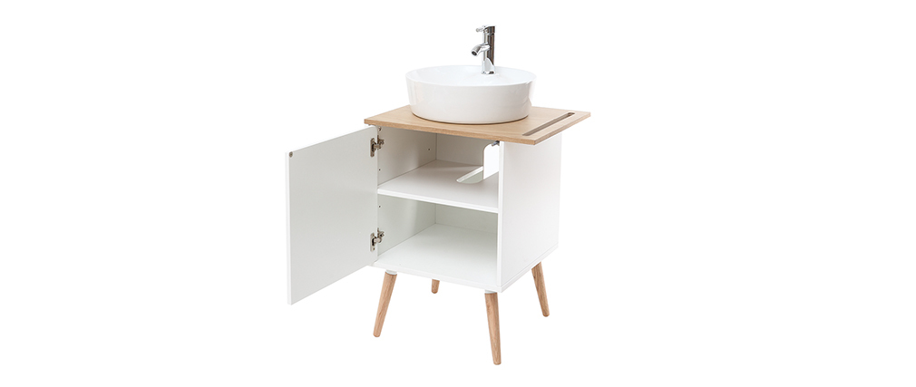 TOTEM bathroom unit with sink, unit and door in oak and white