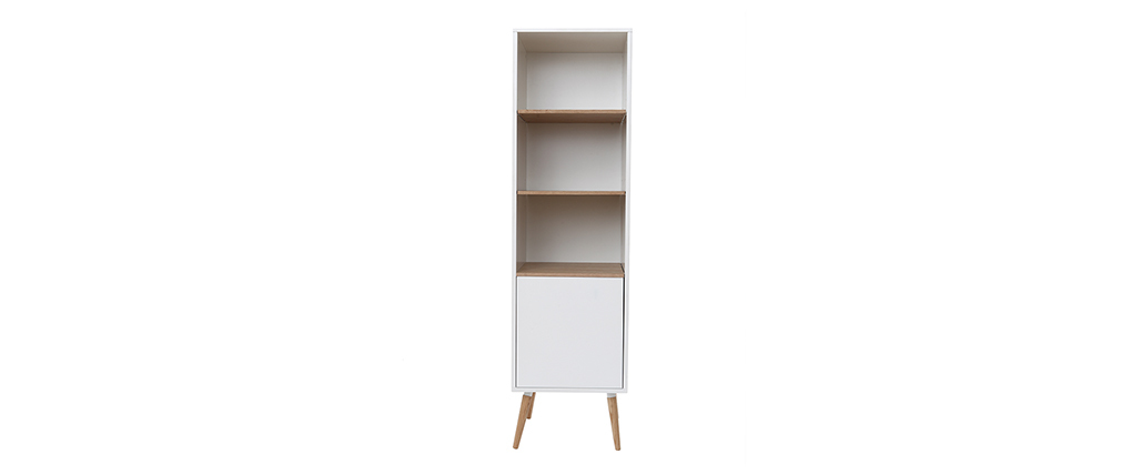 TOTEM white and wooden bathroom storage tower