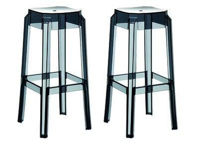 Transparent Black Modern Bar Stools CLEAR 75cm Set of 2
