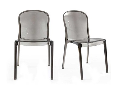 Transparent Grey Polycarbonate Modern Chairs THALYSSE (set of 2)