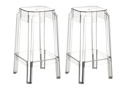 Transparent Modern Bar Stools CLEAR 75cm Set of 2