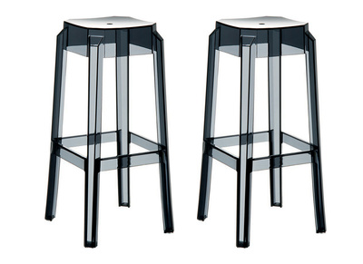 Transparent Modern Black Bar Stools CLEAR 65cm Set of 2