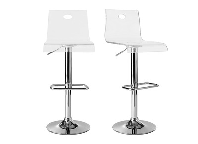 Transparent Modern plexiglass Bar Stool SATURNE (set of 2)
