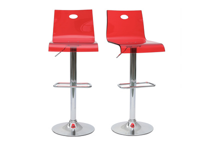 Transparent Red Modern plexiglass Bar Stool SATURNE (set of 2)