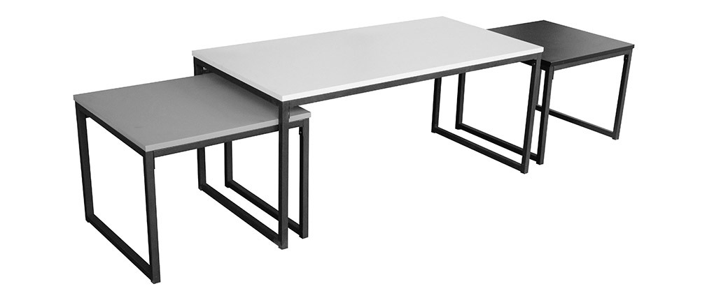 TRIOZ set of 3 lacquered nesting coffee tables in black, grey and white with metal legs