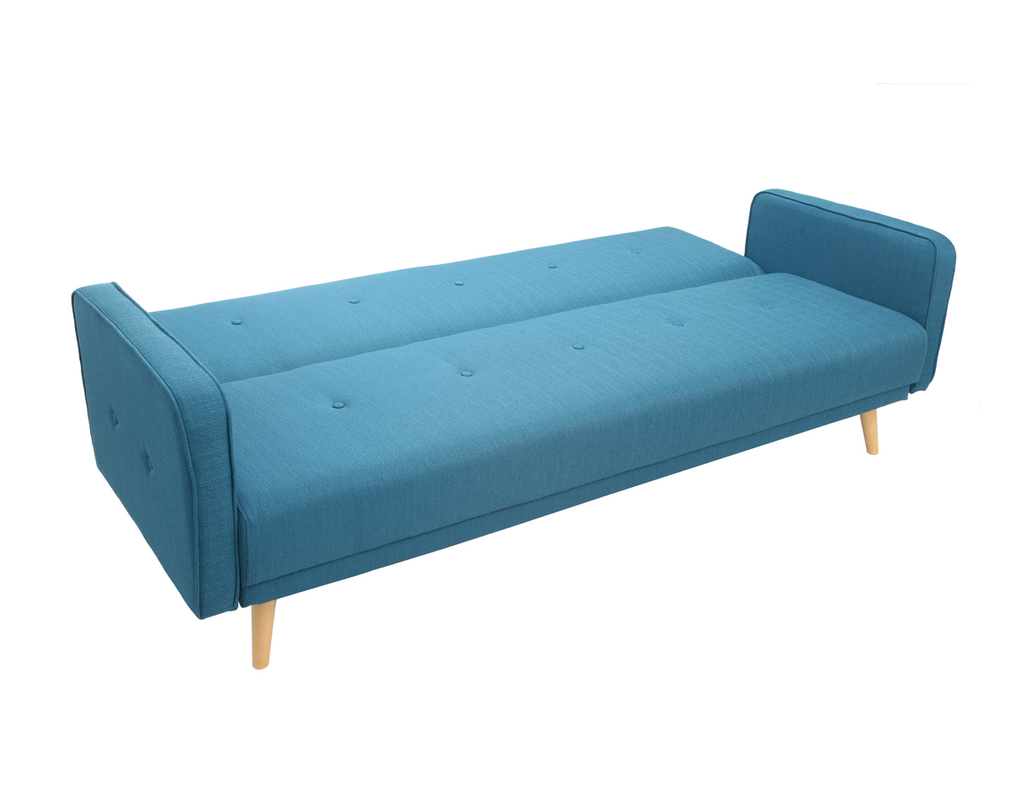 ULLA 3-seater Scandinavian designer sofa bed in blue - Miliboo