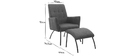 ULYSSE contemporary armchair and footrest in denim fabric