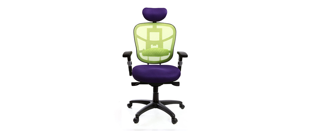 UP TO YOU lime green and purple ergonomic office chair