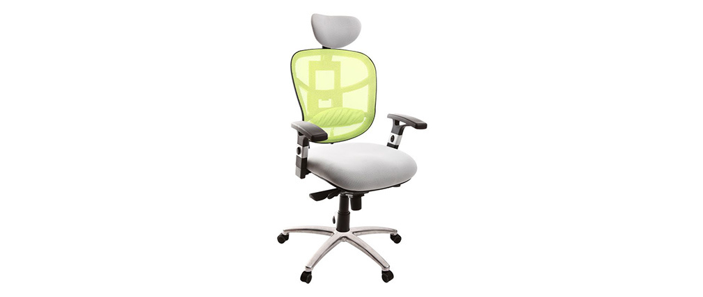 UP TO YOU lime green and white ergonomic office chair