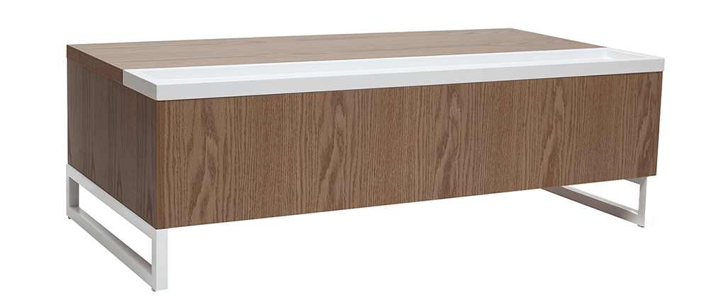 URBAN designer white and wooden adjustable coffee table with storage