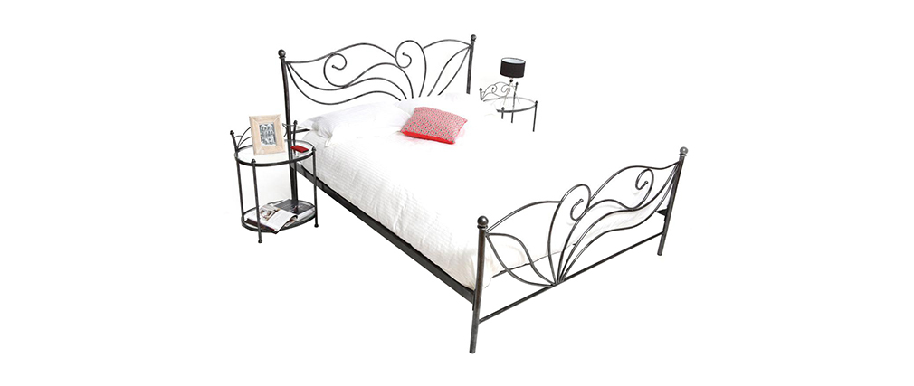 VENEZIA Black Baroque Bed 160x200