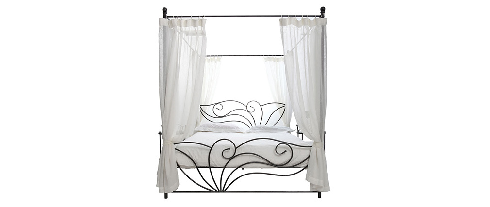 VENEZIA Black Baroque Four Poster Double Bed ? 140 X 190cm