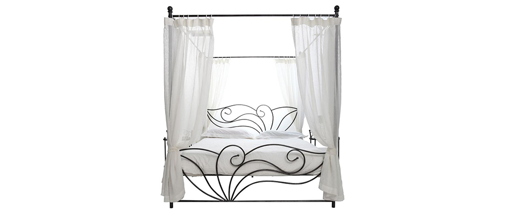 VENEZIA Black Baroque Four Poster Double Bed