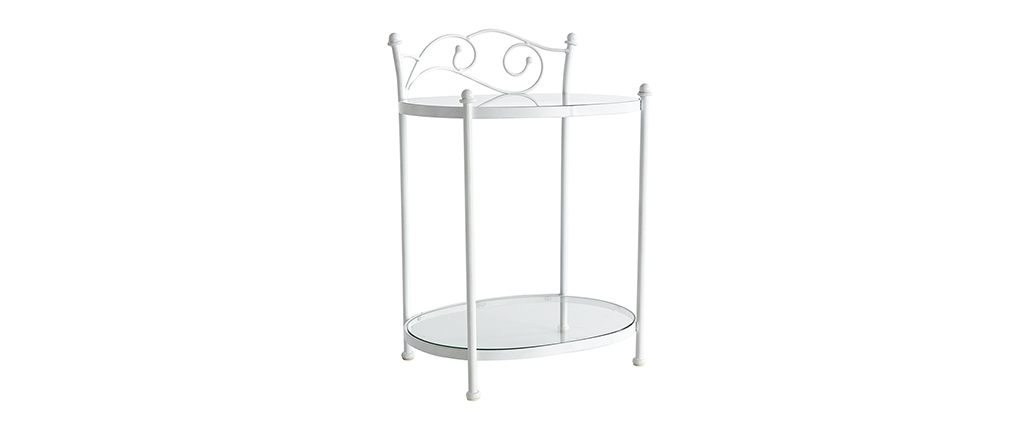 VENEZIA White Metal Baroque Bedside Table