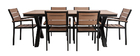 VIAGGIO garden set with 6 chairs and table in black and wood
