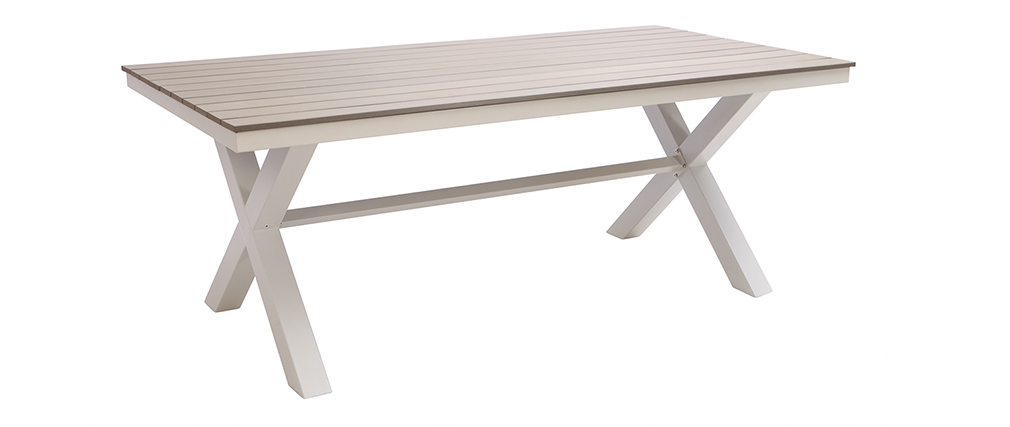 VIAGGIO garden set with 6 chairs and table in white metal and grey wood