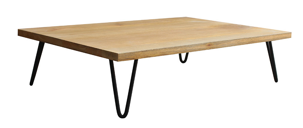 VIBES mango wood coffee table with metal pin legs