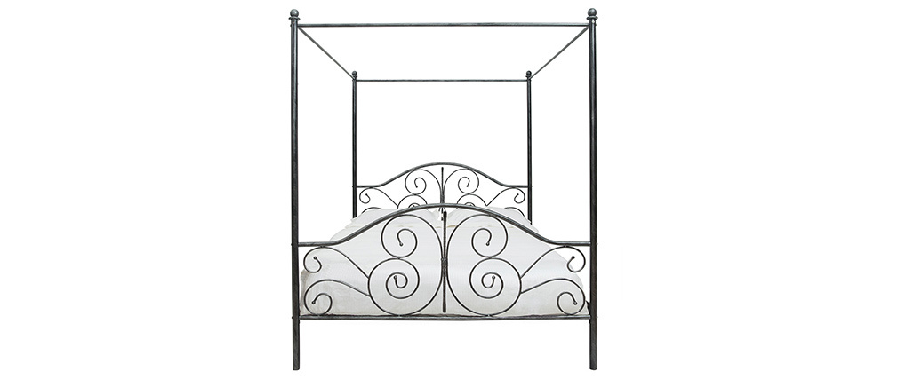 VICTORIA Black Baroque Four Poster Double Bed