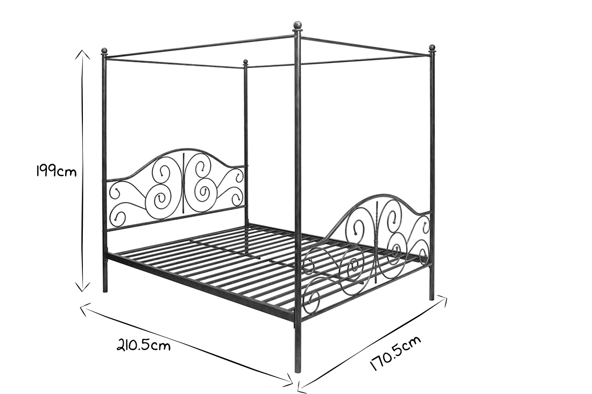 Victoria Black Baroque Four Poster Double Bed Miliboo