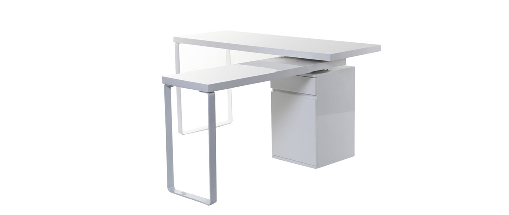 VOXY Glossy White Modern Swivel Desk
