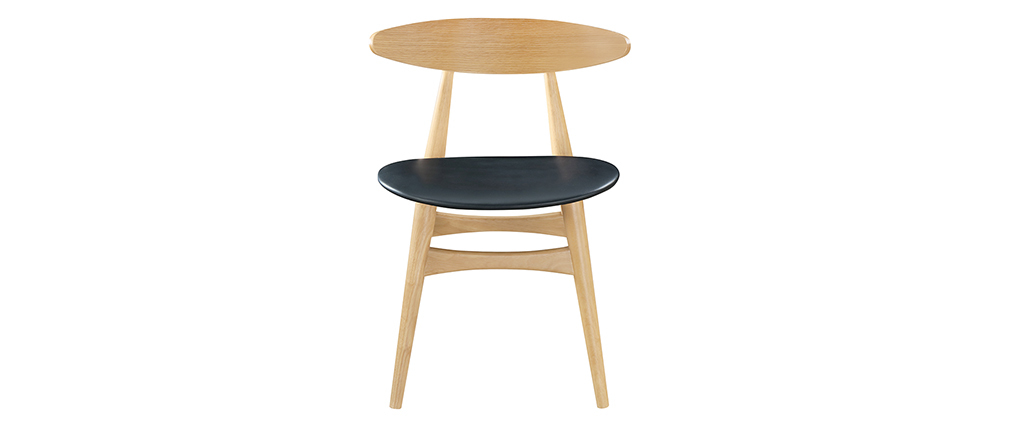 WALFORD designer Scandinavian-Japanese style chair in light wood and black PU