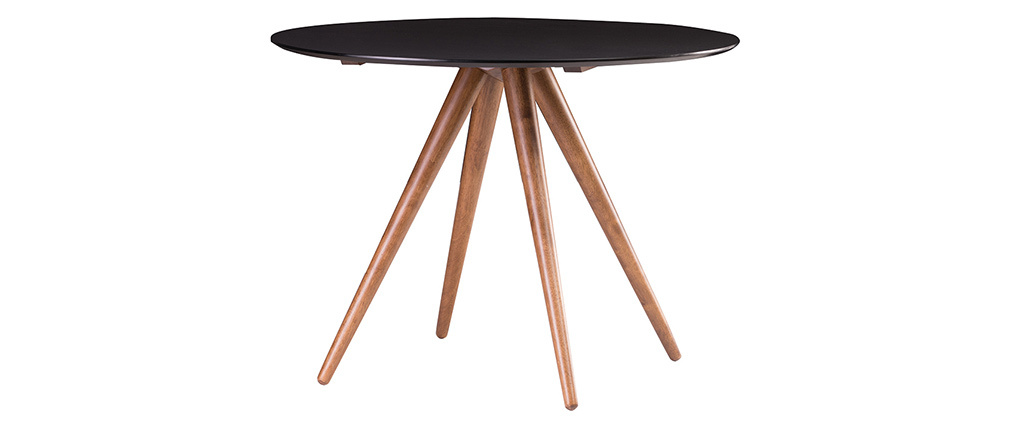 WALFORD Walnut and Black Modern Round Dining Table 106cm