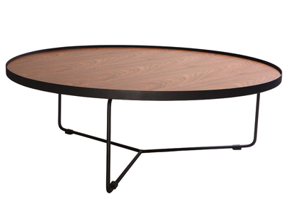 Walnut and Black Metal Modern Round Coffee Table SISKA 100cm