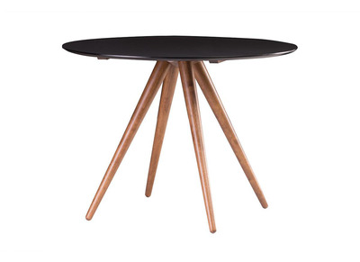 Walnut and Black Modern Round Dining Table 106cm WALFORD