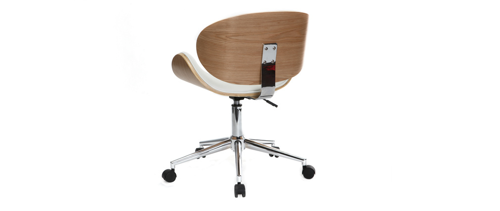 WALNUT Desk Chair Polyurethane White and Light Wood