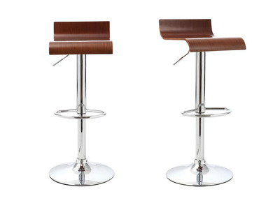 Walnut Veneer Modern Bar Stools (set of 2) SURF V2
