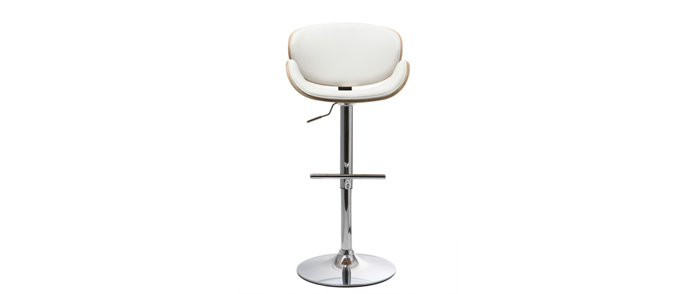 WALNUT White and Light Wood Bar Stool