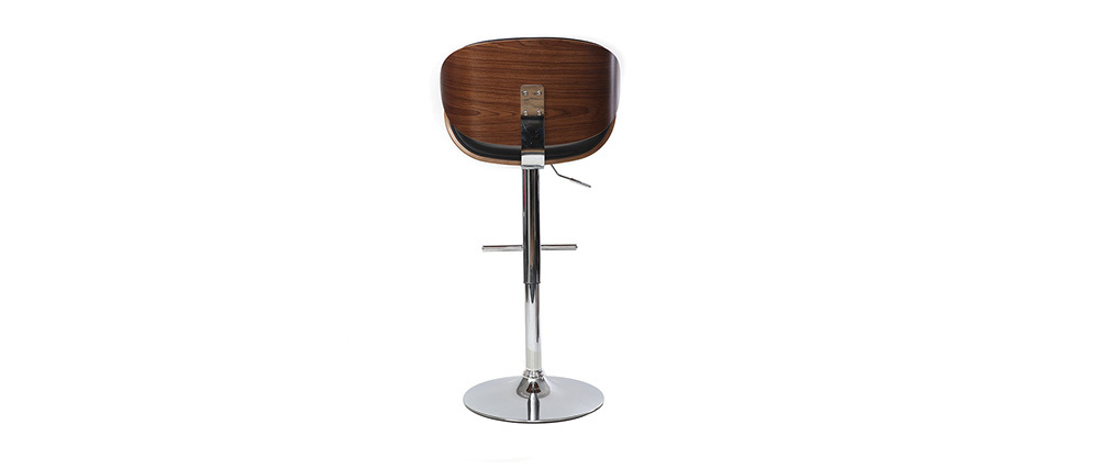 WALNUT Wood and Black Bar Stool
