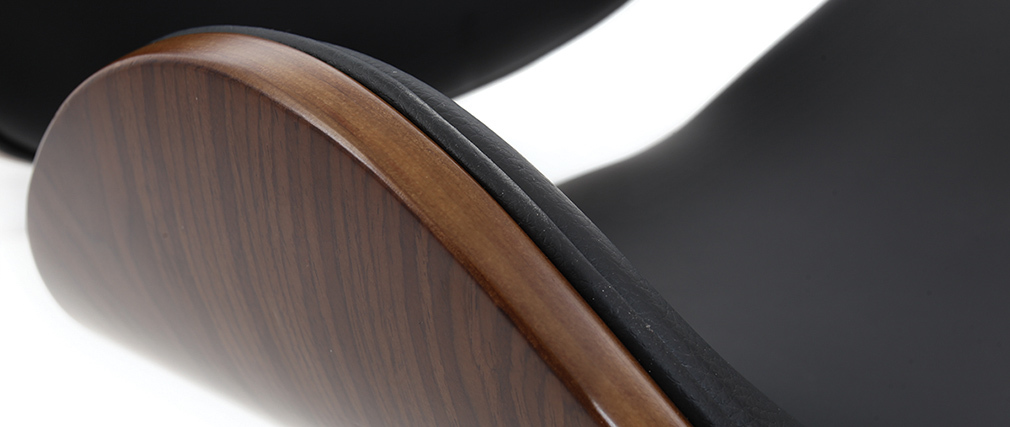 WALNUT Wood and Black Office Chair