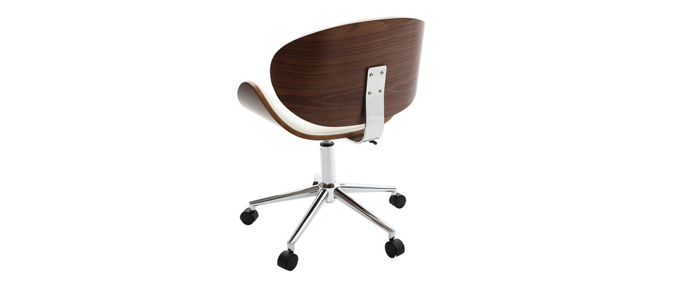WALNUT Wood and White Office Chair