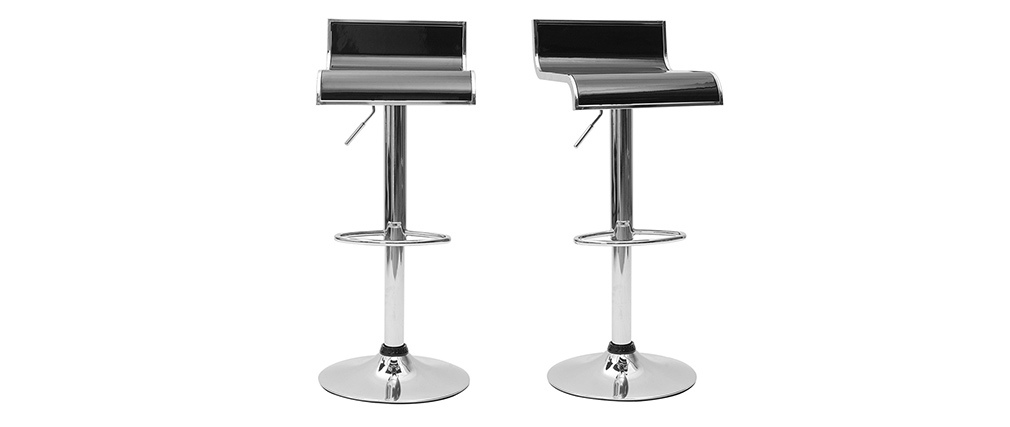 WAVES Black Bar/Kitchen Stool (set of 2)