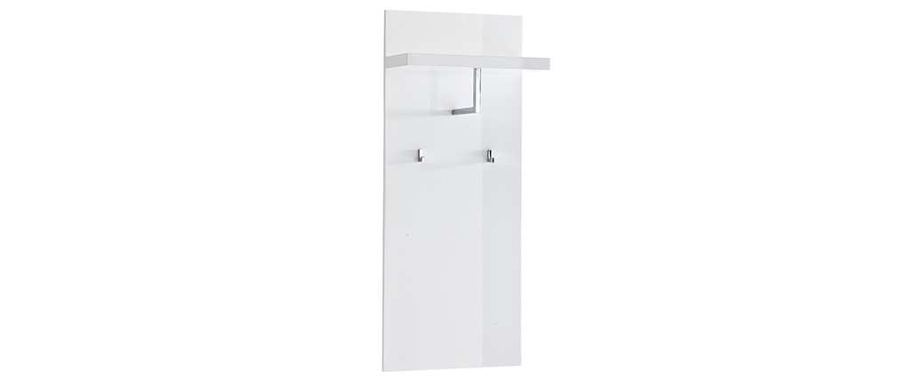 WELCOME wall-mounted white lacquered coat hanger shelf unit