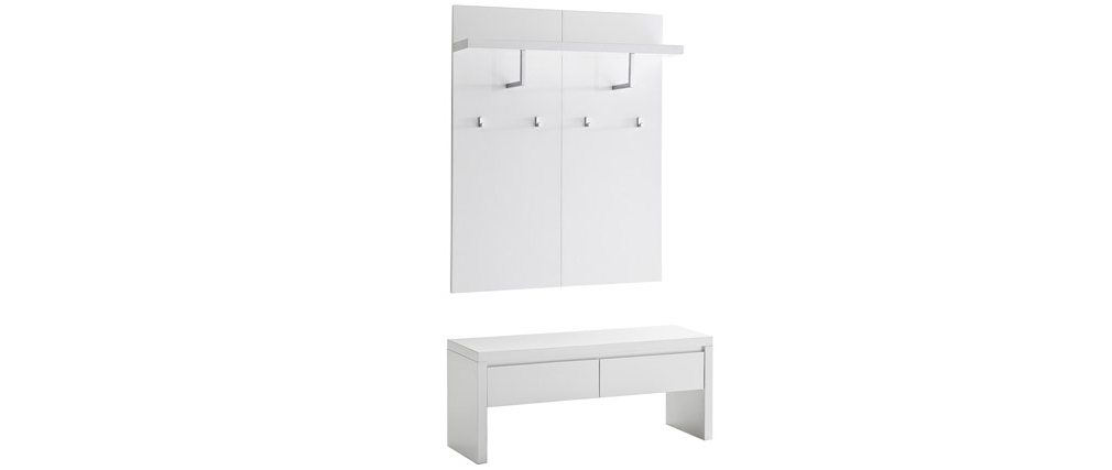 WELCOME white lacquered entrance hall unit with bench, 2 drawers and coat hooks