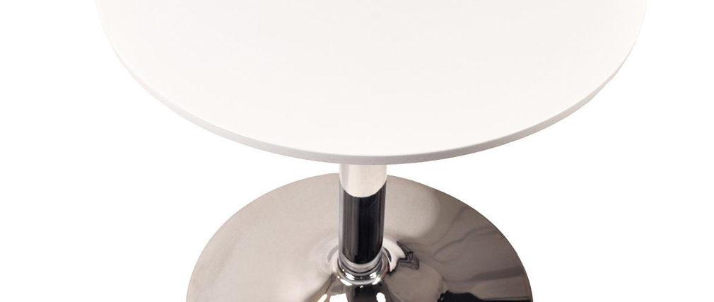 White and chromed metal table Sandy