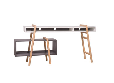 White and Grey  Modern Desk WOOD TANG Composition 2