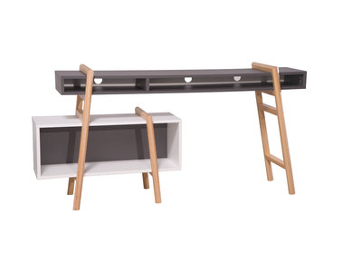White and Grey Modern Desk WOOD TANG Composition 3