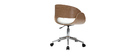 White and Light Wood Modern Chair with Castors BENT