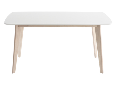 White and Light Wood Modern Dining Table LEENA 150cm